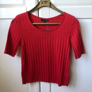 Topshop Red Ribbed Crop Top - Size 4 - NWT